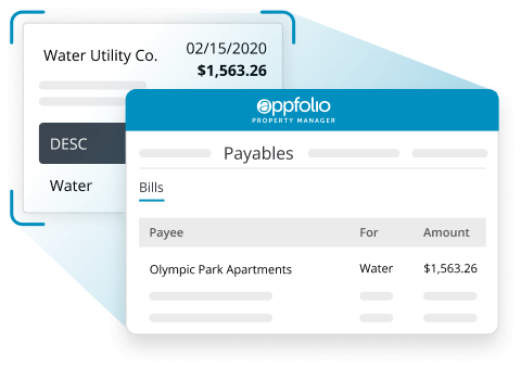 A screen shot of the AppFolio Property Manager Billing tool that comes after a water utility bill.