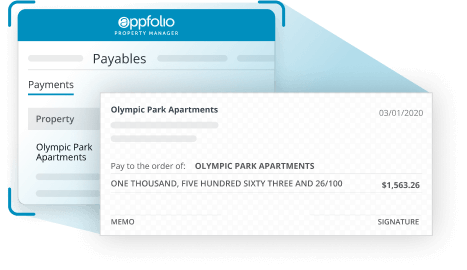 A screen shot of a paper check that comes after the AppFolio Property Manager Billing tool.