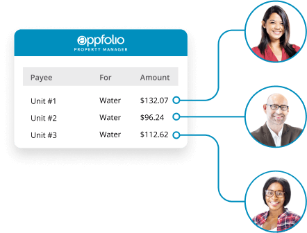 A screen shot of the AppFolio Property Manager Billing tool, with three charges that are connected to headshots of two women and a man.