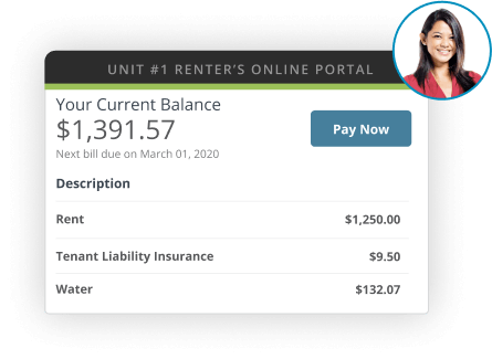 A screen shot of the AppFolio Property Manager Renter's Online Portal showing the amounts owed, and adjacent a headshot of a woman.